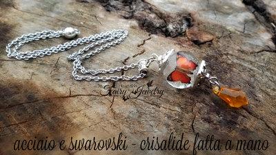 Collana farfalla realistica  goccia swarovski topazio acciaio inossidabile