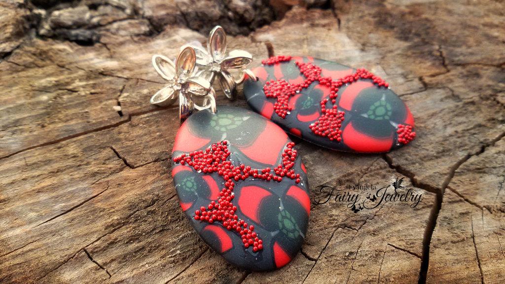 Orecchini ovali pasta polimerica fimo murrine fatti a mano perni in ottone