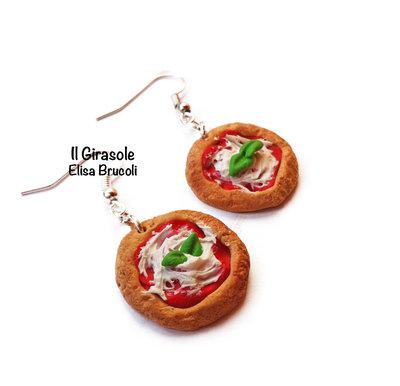 Orecchini pizza margherita pendenti in pasta polimerica fimo