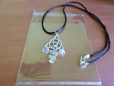 collana argento tibetano con gufo e cristalli