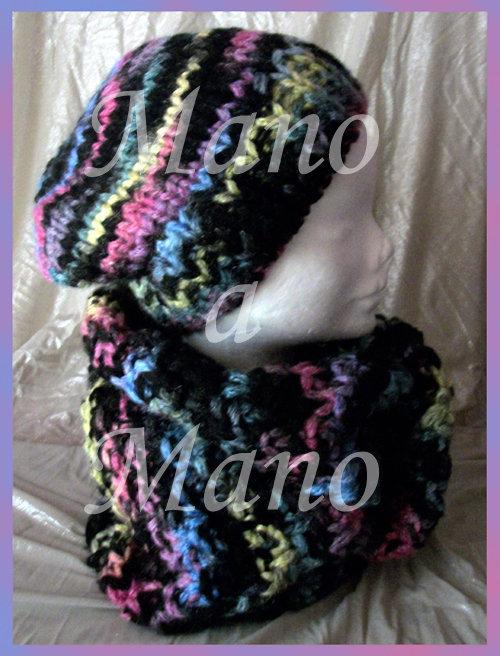 Set Cappello & Scaldacollo - Nero fuxia giallo azzurro
