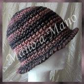 Cappello a cloche - nero rosa melange