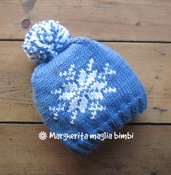 Berretto cappello fiocco di neve per bambino - pura lana merino con pon pon