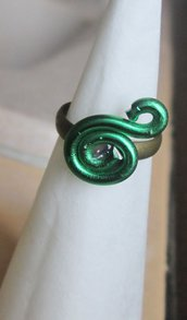 Anello regolabile wire in filo d'alluminio verde