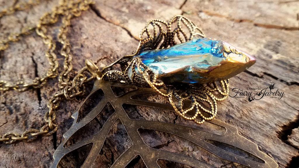 Collana fiore filigrana cristallo irregolare electroplated bronzo