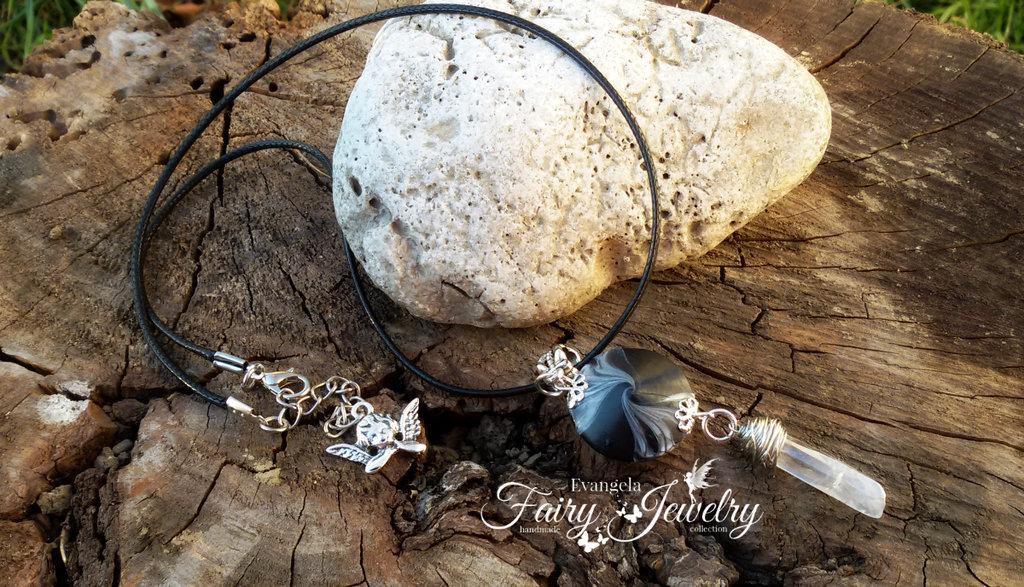 Collana cristallo irregolare perla fatta a mano in pasta polimerica vortice fimo