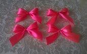 Fiocchetti rosa per confezionare bomboniere o fermacapelli, applicazioni