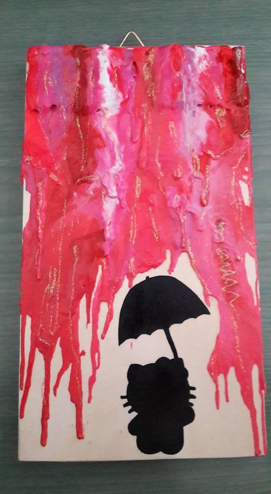 Quadro di Hello Kitty sotto l'ombrello