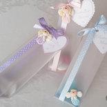 bomboniere battesimo ciondoli angioletti confezionamento con scatola pvc satinata