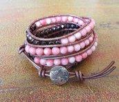 Bracciale Cuoio, colori Bronzo Corallo Rame, Chan Luu Style, Bottone Mondo, per lei