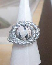 Anello wire in filo argentato con pietra fatto a mano