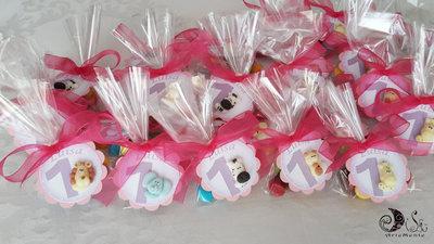 Bomboniere compleanno card art animaletti per bimba rosa, lilla, fucsia, gadget compleanno personalizzabili confezionamento completo con sacchetto portaconfetti