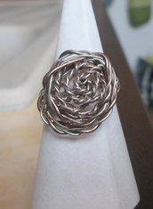 Anello wire in filo bronzato e argentato fatto a mano
