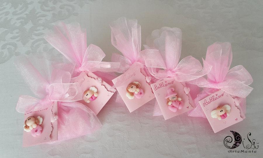 Bomboniere angioletti, folletti, angelo con cuore, card art per nascita e battesimo personalizzate confezionate con tulle