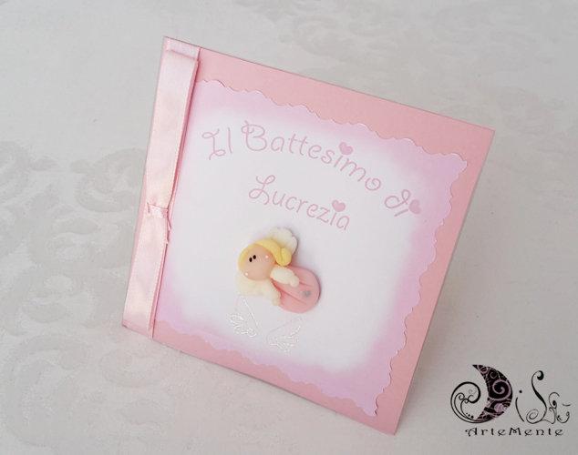Invito card battesimo angioletto rosa per bimba, inviti originali card 10 x 10 partecipazione con busta