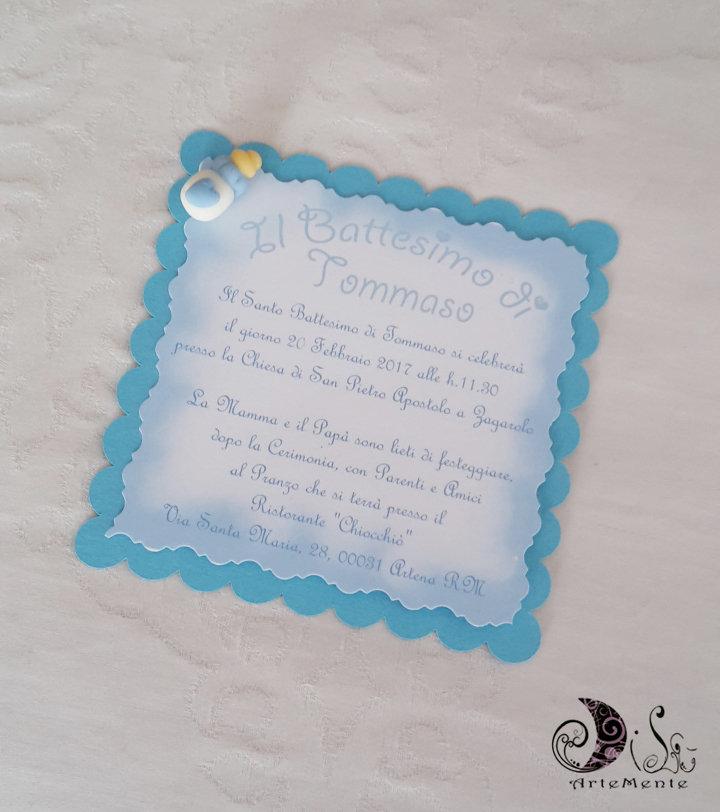 Inviti battesimo Card Art quadrati smerlati celeste per bimbo, miniatura biberon con cuore, card partecipazione 10x10 personalizzabile