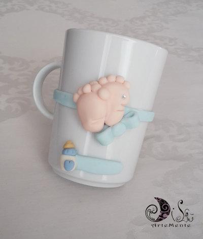 Bomboniera idea regalo madrina e padrino tazza da colazione con piedini, biberon, cuore,  personalizzabile nome