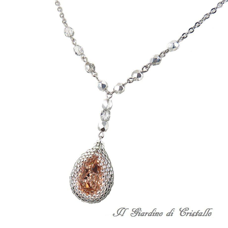Collana elegante con goccia rosa antico Swarovski e cristalli argento fatta a mano - Melissa