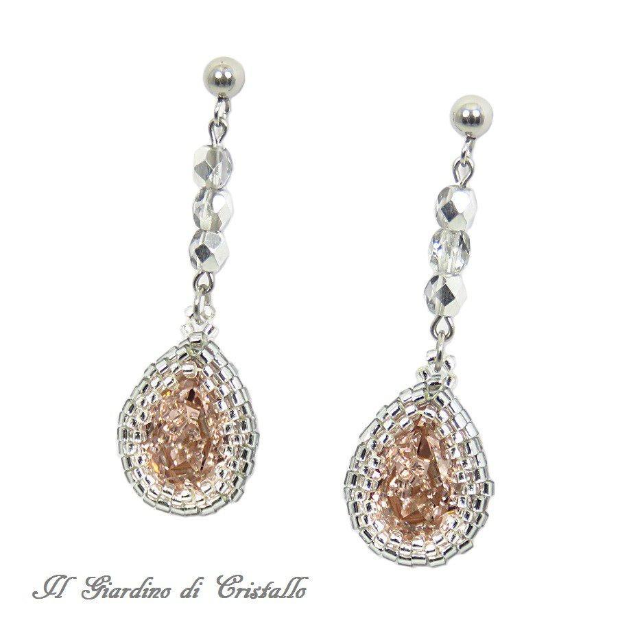 Amato Orecchini eleganti con gocce rosa antico Swarovski e cristalli  DO61