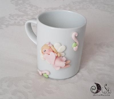 Bomboniere comunione, compleanno, idea regalo,  tazza mug personalizzata con fatina per bimba personalizzabile