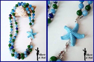 Collana verde azzurra e blu con stella marina - ANTEPRIMA ESTATE