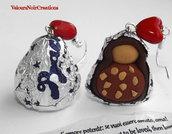 Orecchini baci perugina cioccolatini in fimo regalo