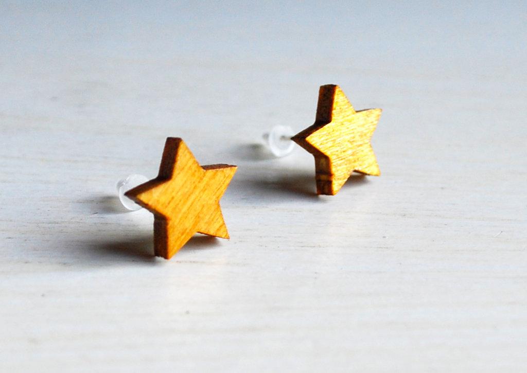 Orecchini Stella Finitura legno