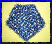 Sciarpa Pon-Pon Blu-Verde Lurex