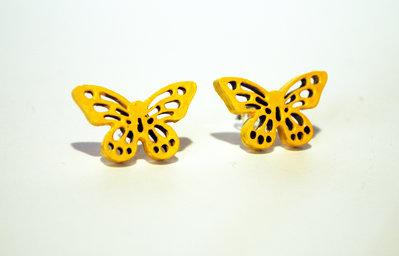 Orecchini a lobo farfalle gialle