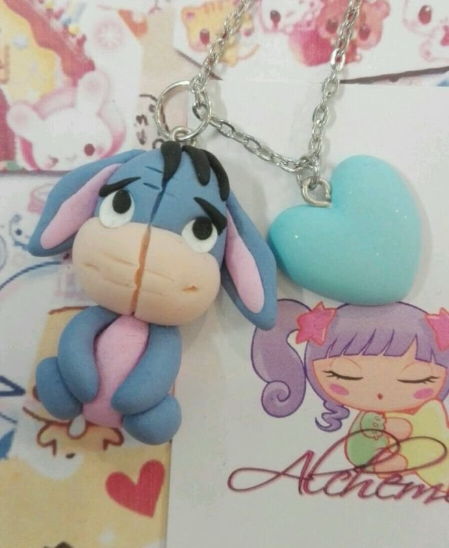 Collana asino asinello fimo kawaii cosplay fumetto hi oh winnie pooh Isaia fimo