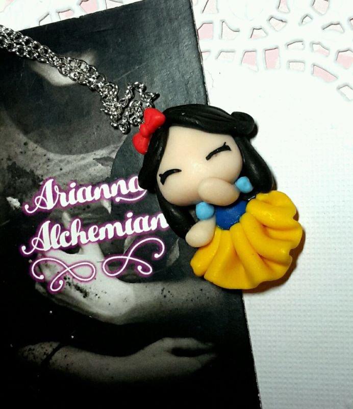 Collana Biancaneve sette nani in fimo snpw white principesse cute Lolita