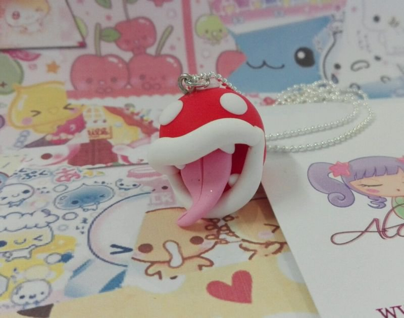 Collana super mario pianta carnivora 80 video game cute kawaii