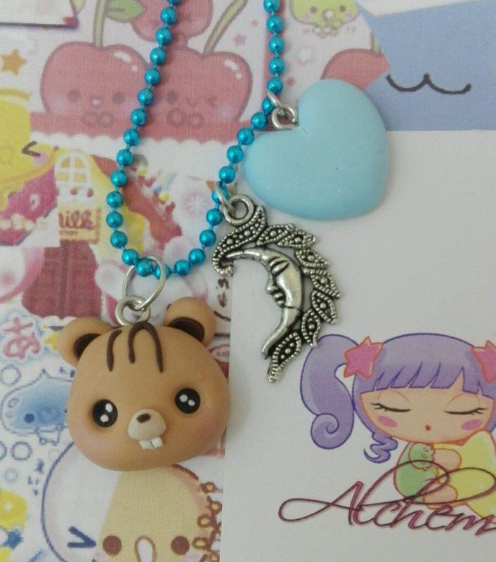 Collana Kawaii FIMO scoiattolino con cuoricino, kawaii, charm luna moon