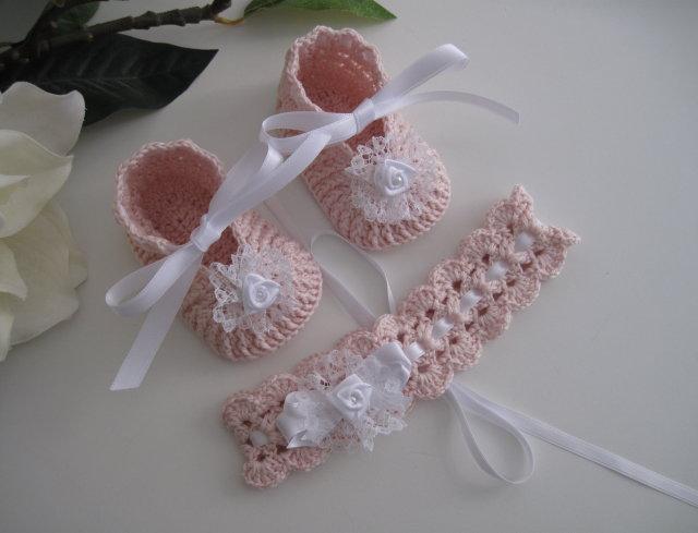 Set coordinato rosa tenue/bianco nascita battesimo cerimonia fatto a mano neonata cotone uncinetto