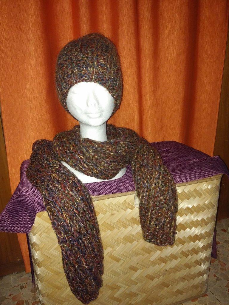 Combinato sciarpa e cappello melangiato