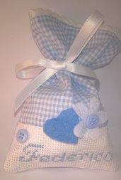 Sacchetti per confetti Battesimo con nome del bimbo  ricamato a punto croce, sacchetti porta confetti Nascita