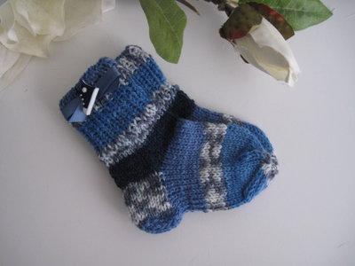Calzini neonato blu/grigio melange fatti a mano nascita idea regalo lana ferri