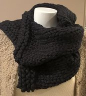Scaldacollo in lana nero wool neck warmer