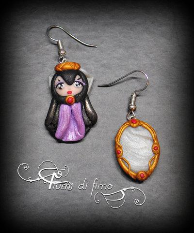 orecchini pendenti fimo| orecchini fimo| orecchini ispirati al cartone di Biancaneve| orecchini| earrings polymerclay| orecchini specchio| gioielli fimo| gioielli| specchio fimo| strega di Biancaneve fimo|