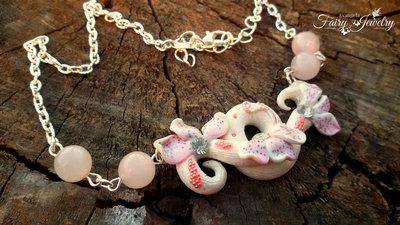 Collana sigillo elfico  pasta polimerica quarzo rosa bianco