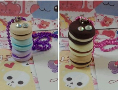 Collana tris macaron,kawaii in fimo, lolita, con strass, paris