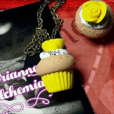 Collana Kawaii limone cupcake pasticcino dolcetto Alchemian fatta a mano lolita