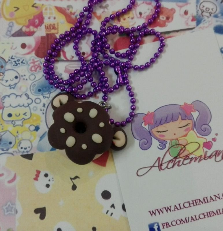 Collana ciambella orsetto, kawaii cioccolato, sweet lolita dolci fimo doni homer