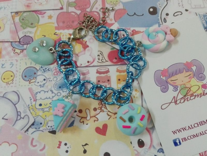 Bracciale ciambell donut torta dolcetti,azzurro, lollipop kawaii dolci lolita