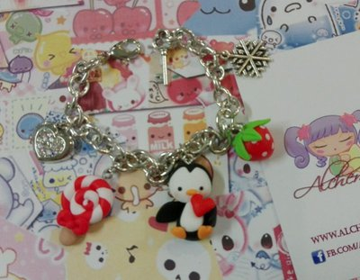 Bracciale Pinguino lollipo fragolina,kawaii style, penguin sweet