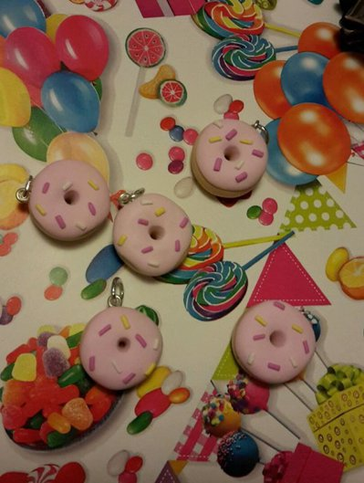 10 pendente ciondolo charm cute kawaii Lolita pastel goth diy fimo Donut dolce