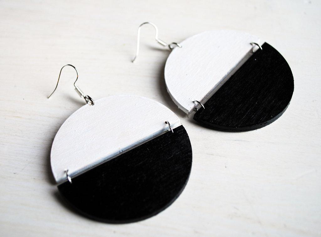 Orecchini Dischi Vintage '70 bianco-nero, pendenti