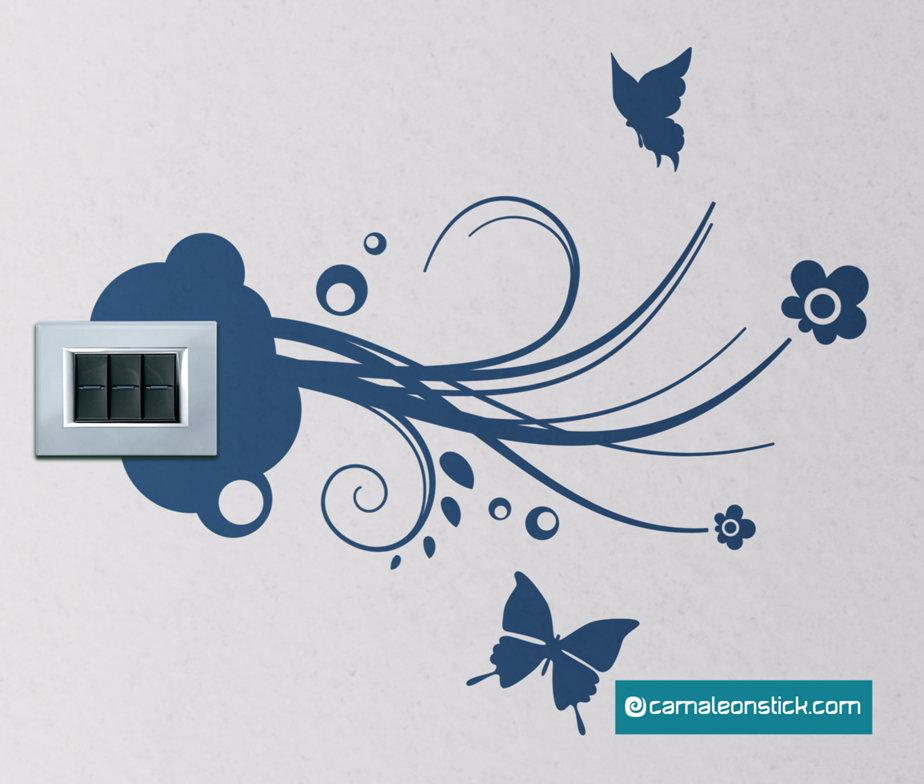 Presa elettrica farfalle - adesivo murale natura - sticker da parete