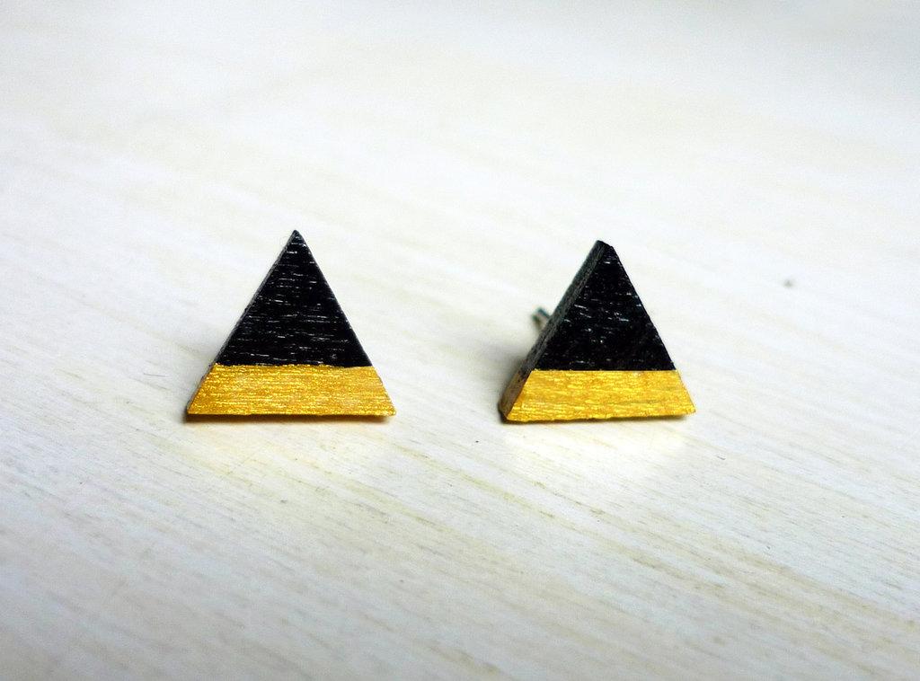 Orecchini Triangoli nero e oro, orecchini a lobo, orecchini in legno