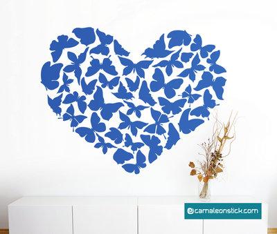Farfalle cuore - adesivo murale farfalle - sticker da parete